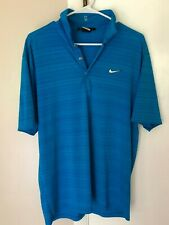 Tiger Woods Collection MENS Medium Blue Golf Dri-Fit Short Sleeve Polo