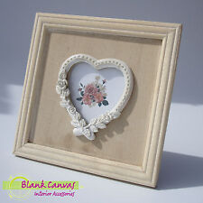 Vintage Shabby Chic Wood Heart Shaped Picture Frame - NEW