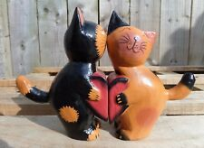 Fair Trade Hand Carved Made Wooden Cat Kissing Love Heart Sculptures Ornament