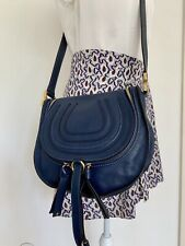 CHLOÉ CHLOE Marcie Medium Tasche Bag Saddle Blue Neuwertig 100% Original
