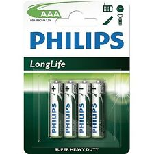 Philips 4 PACK AAA SIZE BATTERIES r03-MIICRO 1.5V Battery