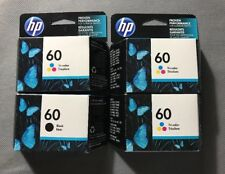 4 HP 60 (1) Black & (3)Tri-Color Original Ink Cartridges Warranty Ends: 2016