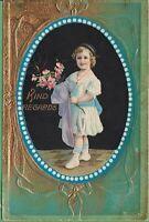 Vintage Antique Postcard Geletine Best Regards Little Girl holding Flowers 1910