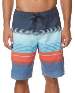 """O'Neill Men Swimwear Blue Orange Size 36 Lennox Striped 21"""" Board Shorts $39 182"""