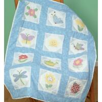 """JDNA Jack Dempsey 9"""" Quilt Blocks Octagon Garden Stamped For Embroidery - New"""