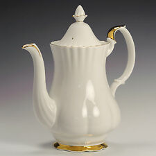 Royal Albert Val D'or White & Gold Fine Bone China 2 1/4 pt Coffee Pot & Cover