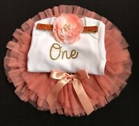 Girls First 1st Birthday Outfit Cake Smash Set Birthday Peach Tutu Skirt Set