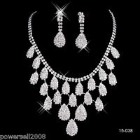 Custom Made Bridal Pageant Necklace Earrings Jewelry Set Wedding Accessories !I!