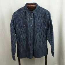 Banana Republic mens shirt Size M Navy blue white Figured stripe Pearlized snaps