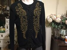 Vintage Cardigan Black With Gold Beading 95% Lambswool Size 46 (12-14)