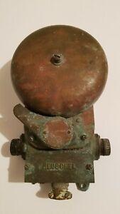 """Vintage Henschel Corp. Brass U.S. Navy Ship's Alarm Bell 6"""" Diameter Bell"""