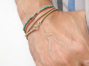 14 k solid red  gold camel leather cord wrap bracelet bangle string men women