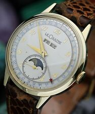 Near *NOS*C. 1940's JAEGER LeCOULTRE Triple Date Moon-Phase w/ Orig Box SERVICED