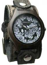 Vst263S Nemesis dark wood case watch in Tattoo skull face with Vintage leather