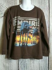 Star Wars The Empire Strikes Back Boy's Brown Graphic Long Sleeve Tee Shirt Sz 5