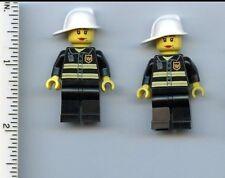 LEGO x 2 Minifig Fire Reflective Stripes, Black Legs, White Fire Helmet, Female