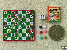 DOLLS HOUSE MINIATURE SNAKES & LADDERS GAME Dice Counters & Book HANDMADE 1:12th