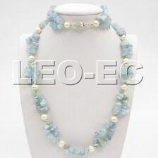 stylish 2row aquamarine white pearl necklace Bracelet set w119