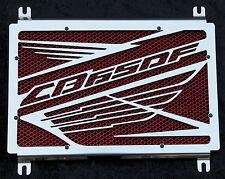 "cache / Grille de radiateur inox poli Honda CB650F ""Wing"" + grillage rouge"