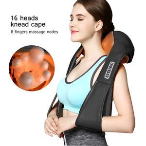 Electrical Massager Neck Shoulder Back Shiatsu Heat Massage Pillow Pain Relief