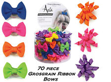 70 pc GROSGRAIN MIXED Bowtie Pinwheel Loop RIBBON HAIR BOW w/Band Dog Grooming
