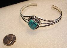 Turquoise Navajo Cuff Bracelet 218-A L. Leo Yazzie Sterling Silver With