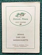 DENNIS MA Cape Cod Golf Scorecard Diagram of Course 1960s Dennis Pines Golf