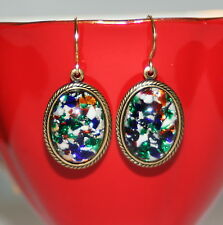 Vintage Harlequin foil art glass opal deco set earrings rubydalmatian artisan