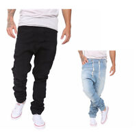 Mens Stretchy Cotton Slim Jogger Hip Hop Trousers Elastic Harem Cargo Twill Pant