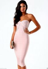 NWT bebe rose dusty pink bustier midi stud embellished bandage top dress S small