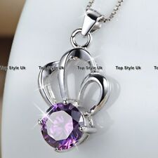 Amethyst Diamond Necklace Silver Jewellery Gifts for Her Women Girls Lady J375