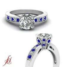 1.25 Carat Round Cut Diamond & Sapphire Tapered Style Pave Wrap Engagement Ring