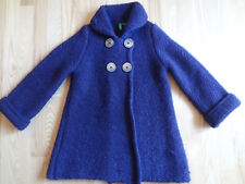 UNITED COLORS OF BENETTON Girls Wool Blend Woven Coat Size S (6-7)