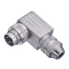 1 x Binder, 12 Pole Right Angle Cable Mount Miniature Connector, Male Contacts