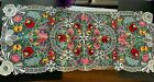Large Beautiful Colorful Flowers Ecru Table runner Embroidery And Lace 22 x 52