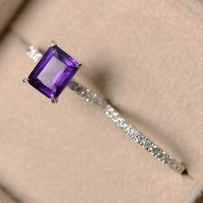 3.10 Ct Genuine Amethyst Diamond Ring 14K White Gold Emerald Band Sets Size 6 7