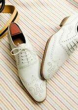 MEN NEW HANDMADE ORIGINAL LEATHER WINGTIP BROGUE WHITE DRESS FORMAL SHOES
