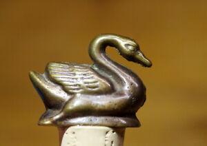 Alter Bottle Closure Ornamental Stopper Bronze Swan Quality Collectors Item