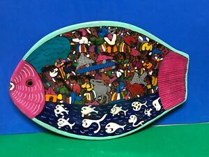 "Mexican Clay Folk Art Hanging 12"" Platter Fish Hand Painted Water Villagers"