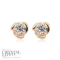 SWIRL EYE Swarovski Elements Crystal 18KRGP Bridesmaid Gold Plated Stud Earrings