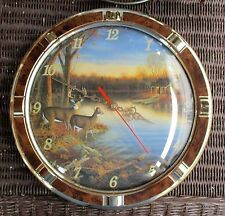 SAM TIMM ROUND DEER BY THE LAKE BATTERY OPERATED WALL CLOCK