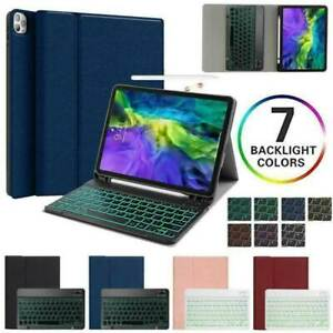 "For iPad Pro 11"" 2020 & 2018 Backlit Keyboard Leather Smart Cover Case Pen Slot"