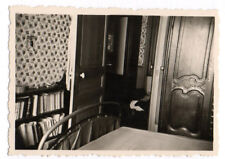 PHOTO ANCIENNE Intérieur Maison Chambre Lit Bibliothèque Vers 1940 Porte Armoire