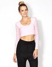 Womens Supre Size S/10 long sleeved Crop Top - lace sleeves - PALE PINK - BNWT