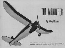 """Model Airplane Plans (FF): Vintage 1946 WANDERER 55½""""ws OT for B/C motors"""