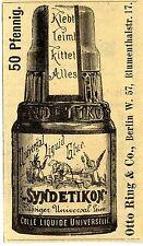Otto Anello & Co. Berlino syndetikon Universal colla storica la pubblicità di 1892