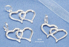 20 Silver Finish Double Heart Charms ~ Wedding Favors ~ Bridal Shower