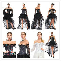 Gothic Victorian Women Vintage Party Dress Lace Corset Dress Bustier Top Corset