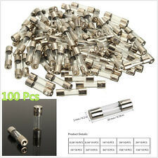 100 Pcs 10 Sizes M5*20mm Autos Vehicle Quick Blow Glass Tube Fuses Assorted Kit