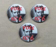 "The Prisoner 'Vote For No.6' 3 Button Set 1.25"" Patrick McGoohan Election No. 2"
